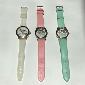 Cat face wristwatch